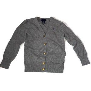 Ralph Lauren Gray Cardigan Gold Buttons Size 5